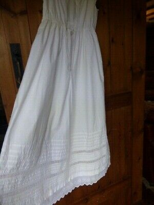 Antique Victorian White Cotton & Lace Full Length Christening Petticoat