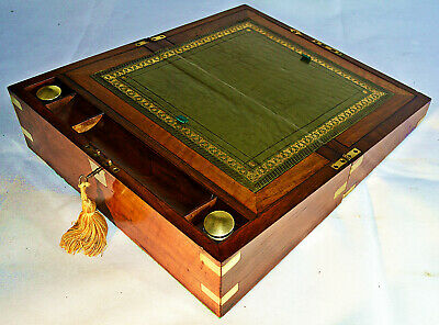 Victorian Brass Bound Writing Slope with Inkwells, Secret Drawers & Key