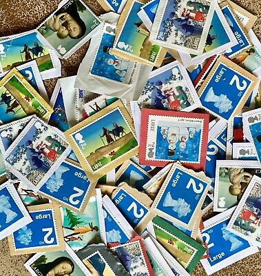100 Unfranked Second 2nd Class Large Assortment Xmas and Blue Stamps GB Kiloware