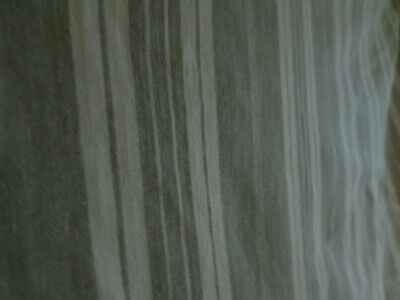 Vintage Large Piece 4 METERS Striped French Ticking Linen Fabric Taupe & Cream