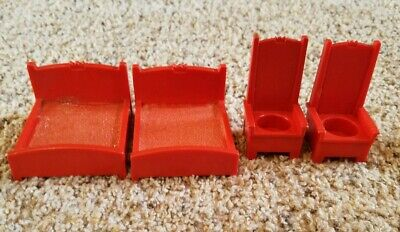 Vintage Fisher Price little people Castle lot: 2 red thrones/2 double king beds