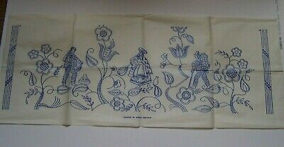 Large Vintage Embroidery Transfer Jacobean Style Flowers & People