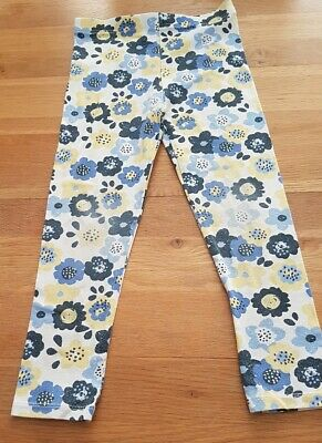 Girls flowery leggings white blue & yellow age 4-5 trousers from george
