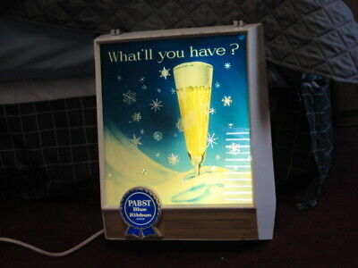 PABST BLUE RIBBON BEER SIGN 1960s MOTION CHRISTMAS SNOW / STARS GLASS PBR BAR