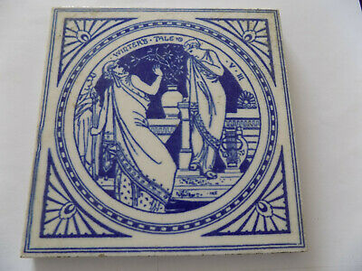 Antique John Moyr Smith Minton Blue & White Tile Shakespeare- Winter's Tale