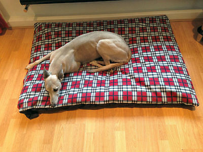 KosiPet® Large Deluxe Waterproof Fibre Bonded Pad Red Plaid Fleece Dog Bed