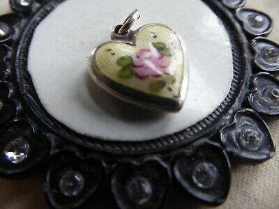 Vtg Sterling Yellow Enamel Puffy Heart Charm Pink Rose With Green Leafs