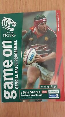 Rugby Union Programme Leicester Tigers v Sale Sharks 6th April 2003