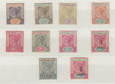Seychelles QV Collection Of 10 Values To 13c MH J7130