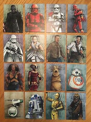 Star Wars Journey To The Rise Of Skywalker Illustrated Character Card Insert Set
