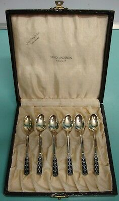 Rare David Andersen Art Nouveau Enamel gold wash sterling silver Demitasse spoon