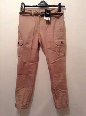 """BNWT """" Next """" Size 6 Brown Belted Cotton Casual Chino Trousers Ladies(34 EU)New"""