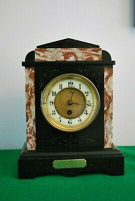 Antique Black Slate and Marble Presentation Mantle Clock