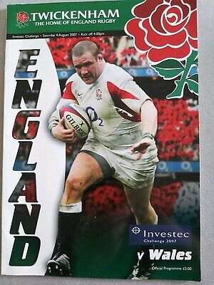 ENGLAND v WALES 4 AUGUST 2007 RUGBY PROGRAMME