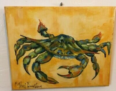 "Original fine art oil paintings, signed by Artist, 8x10 ""Crabby"" Oil/Canvas"