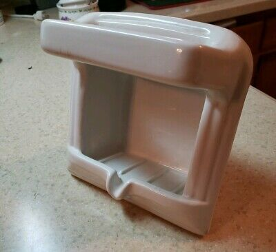 Vintage Crane White  Porcelain Recessed Soap Dish with Wash Cloth  holder 1950's