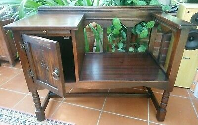 Jaycee hall/telephone seat/cupboard solid dark oak, old charm style carving with