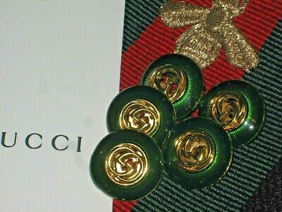 100% Gucci 🌺 buttons  5  EMERALD green 18 mm GOLD G FIVE PC.  ❤️