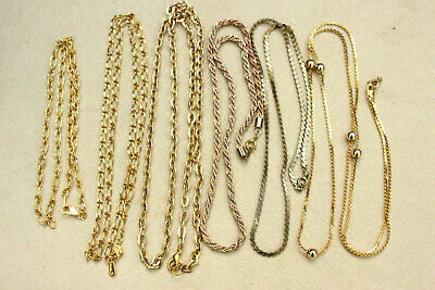 6 x Job Lot GOLD TONE (& Plated) Various Designs Linked CHAIN NECKLACES