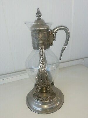 Antique Vintage Sheffield Glass Coffee Carafe/Silver Plate Handle & Lid Stand