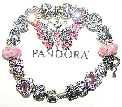 Authentic Pandora Silver Bracelet with BUTTERFLY, PINK CRYSTAL European Charms