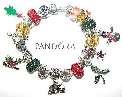Authentic Pandora Sterling Silver Bracelet with MERRY CHRISTMAS European Charms