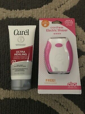 Cleo cordless electric shaver plus curel ultra healing