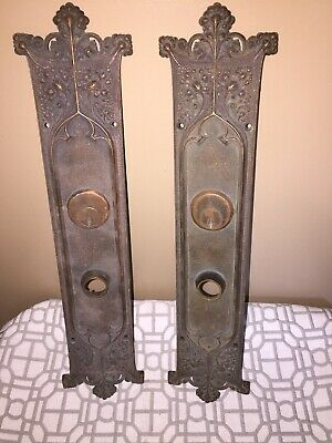 "Antique Set Of (2) Victorian Art Nouveau Cast Iron Door Back Plates~16.5"" X 3"""