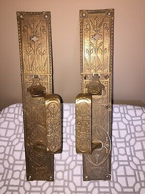ANTIQUE SET OF (2) VICTORIAN EASTLAKE ORNATE BRASS DOOR PLATE W/ HANDLE~14.5x2.5