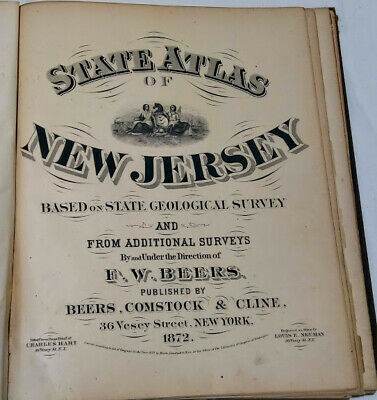 Beers, F. W. State Atlas of New Jersey 1872 Maps Book City County Rare Vintage