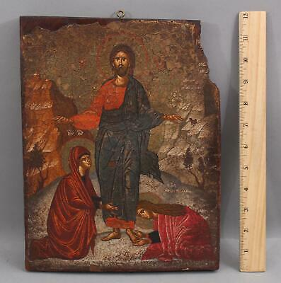 17thC Antique Authentic Russian Icon Painting, Madonna, Mary Magdalene & Jesus