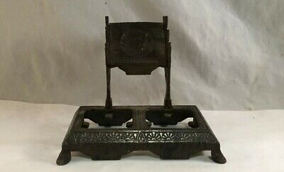 Antique Victorian Eastlake Cast Iron Inkwell Ink Stand W/ Bird Stork Decoration
