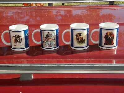 4 Vintage Saturday Evening Post Norman Rockwell Collection Mugs