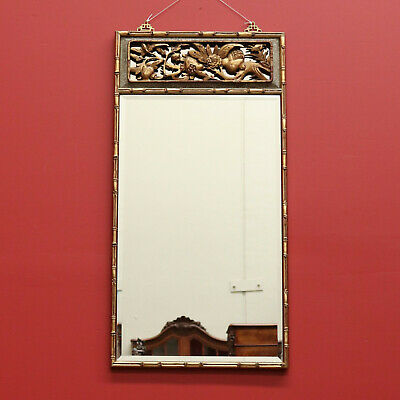 Vintage Gilt Carved Wood Mirror Bamboo Design, Bevelled Edge Mirror