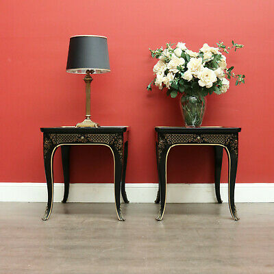 Pair Vintage Drexel Lamp Table, Chinese Chinoiserie Brass Mount Feet Glass Top