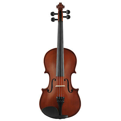 4/4 Size Acoustic Violin Fiddle Set with Case Bow Rosin Bridge Strings Natural