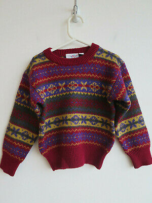 Vintage jumper for toddler Zig Zag made in Hong Kong wool blend 80s 90s 4 yrs