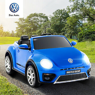 12V Battery Electric Kids Ride on Car Remote Control Beetle Style Blue LED Light
