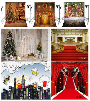 US 10X10FT 5X7FT Xmas Tree Fireplace Red Carpet Photo Background Vinyl Backdrop