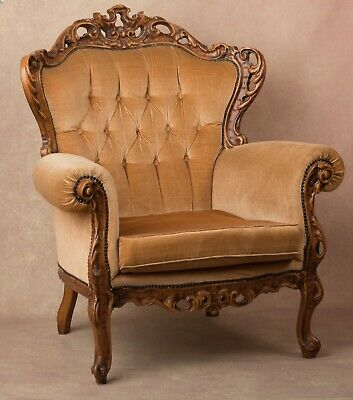armchair Antique Wood carved elegant french louis style photography prop