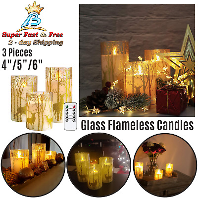 Glass Flameless Candles Remote Timer Battery Operated Moving Wick LED Home Decor