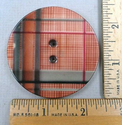 PLAID CELLULOID BUTTON, Early 1900s Vintage Tight Top, VERY Large