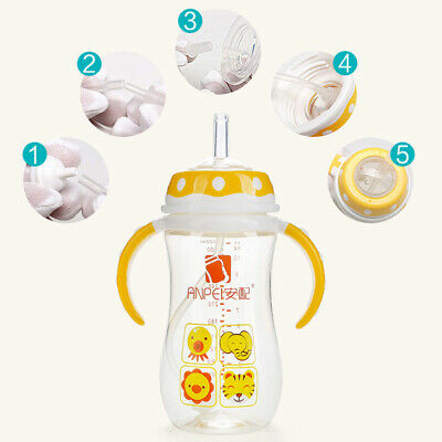NE_ Baby Wide Mouth Bottle Changing Water Cup Straw Group Brush Set Feeding Pr