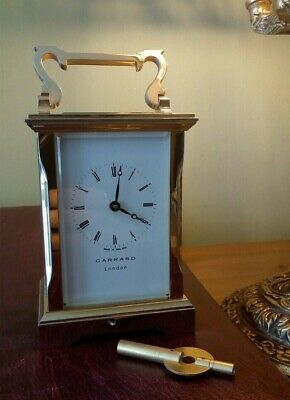 Vintage Plated Garrard Carriage Clock / Timepiece ~ 8 Day / Key ~ Fully Serviced