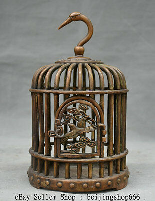 """10"""" Collect Rare Old Chinese Bronze Dynasty Birdcage Bird Cage Statue Wall Hang"""