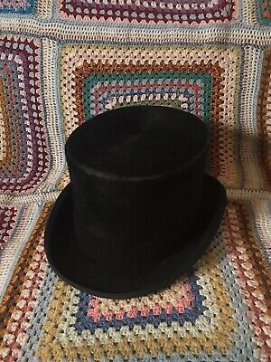 Vintage Christys Top Hat Black Size 7 3/8 59.5cm Made In England Steampunk