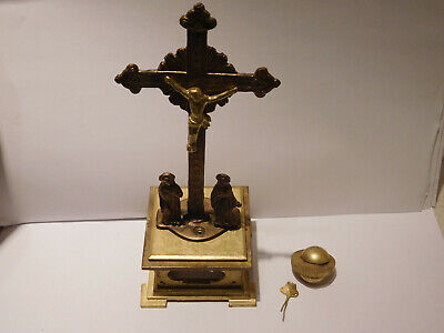 Study Of An Antique 17Th Century Bronze/Brass Crucifix Verge Fusee Mystery Clock