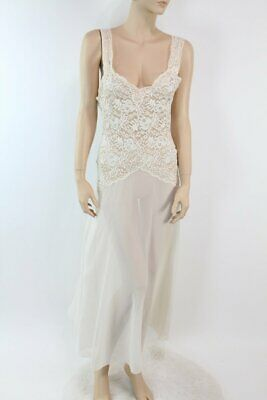 vintage S M Victorias Secret Long Bridal lace nightgown ultra sheer chiffon Sexy