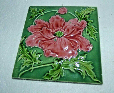 Reclaimed Vintage Art Nouveau Poppy Tile Corn Bros 1898-1904