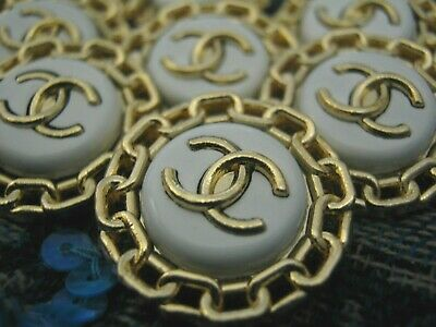 CHANEL 6 gold white BUTTONS lot of 8 sz 22mm  cc logo, 6 pc set